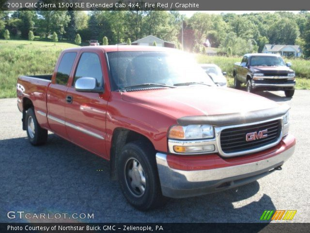 fire red 2001 gmc sierra 1500 sle extended cab 4x4 graphite interior. Black Bedroom Furniture Sets. Home Design Ideas