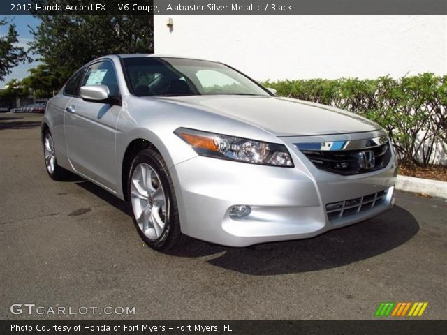 alabaster silver metallic 2012 honda accord ex l v6 coupe black interior. Black Bedroom Furniture Sets. Home Design Ideas