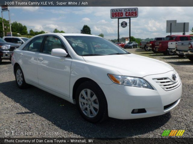 super white 2008 toyota camry xle v6 ash interior vehicle archive 65681351. Black Bedroom Furniture Sets. Home Design Ideas