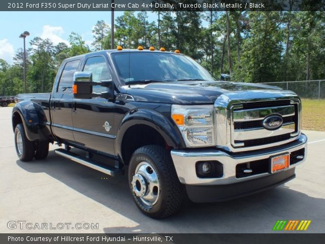 tuxedo black metallic 2012 ford f350 super duty lariat crew cab 4x4 dually black interior. Black Bedroom Furniture Sets. Home Design Ideas