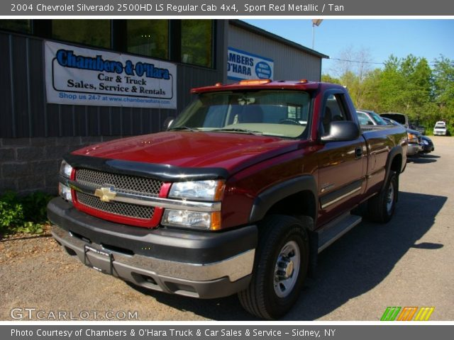 sport red metallic 2004 chevrolet silverado 2500hd ls regular cab 4x4 tan interior. Black Bedroom Furniture Sets. Home Design Ideas