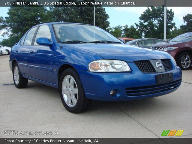 sapphire blue metallic 2006 nissan sentra 1 8 s special edition charcoal interior gtcarlot. Black Bedroom Furniture Sets. Home Design Ideas