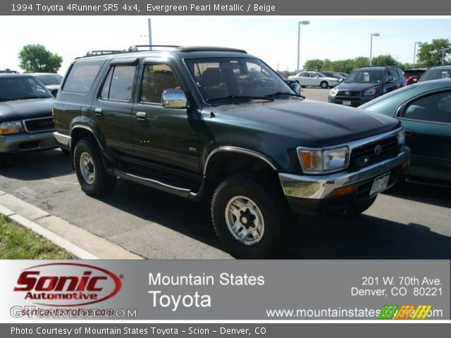 Evergreen Pearl Metallic 1994 Toyota 4runner Sr5 4x4 Beige Interior Vehicle