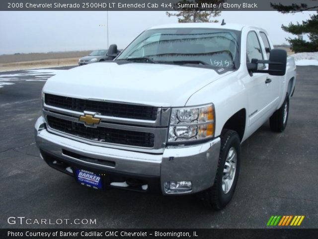 summit white 2008 chevrolet silverado 2500hd lt extended cab 4x4 ebony black interior. Black Bedroom Furniture Sets. Home Design Ideas