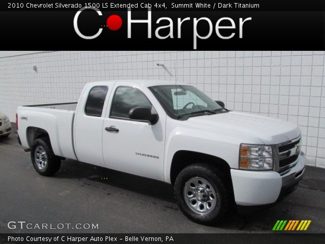 summit white 2010 chevrolet silverado 1500 ls extended cab 4x4 dark titanium interior. Black Bedroom Furniture Sets. Home Design Ideas