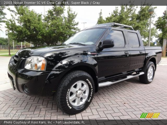 super black 2003 nissan frontier sc v6 crew cab 4x4 gray interior vehicle. Black Bedroom Furniture Sets. Home Design Ideas