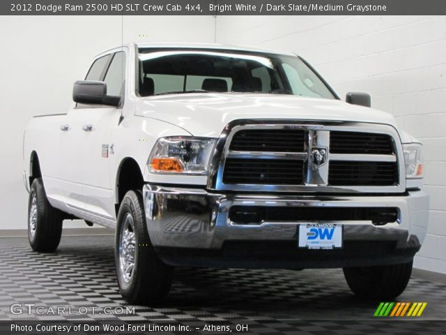 bright white 2012 dodge ram 2500 hd slt crew cab 4x4 dark slate medium graystone interior. Black Bedroom Furniture Sets. Home Design Ideas