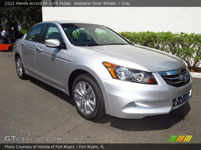 alabaster silver metallic 2012 honda accord ex l v6 sedan gray interior. Black Bedroom Furniture Sets. Home Design Ideas