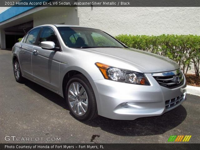 alabaster silver metallic 2012 honda accord ex l v6 sedan black interior. Black Bedroom Furniture Sets. Home Design Ideas