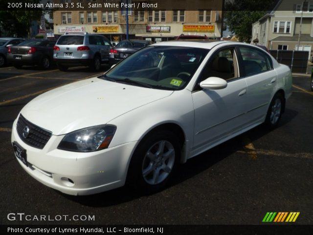 Satin White Pearl 2005 Nissan Altima 35 Sl Blond Interior