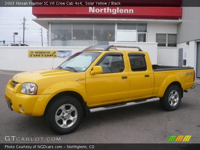 solar yellow 2003 nissan frontier sc v6 crew cab 4x4. Black Bedroom Furniture Sets. Home Design Ideas