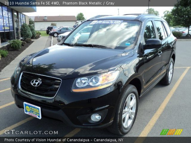 phantom black metallic 2010 hyundai santa fe se 4wd gray interior vehicle. Black Bedroom Furniture Sets. Home Design Ideas