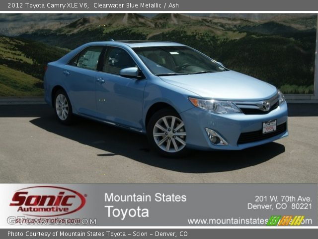 clearwater blue metallic 2012 toyota camry xle v6 ash interior vehicle. Black Bedroom Furniture Sets. Home Design Ideas