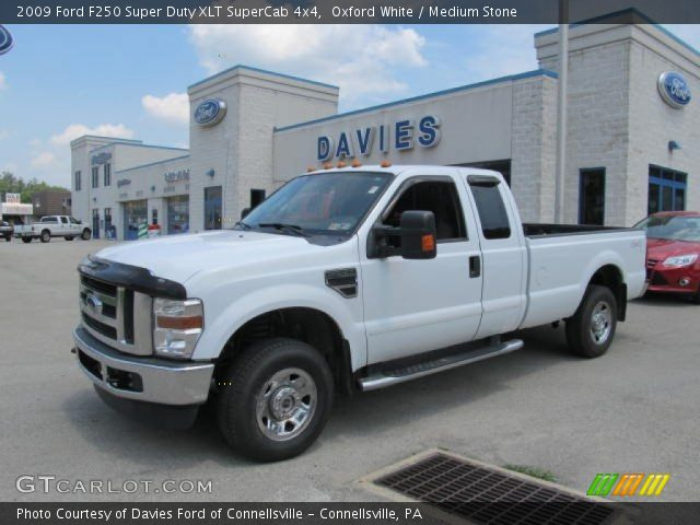 oxford white 2009 ford f250 super duty xlt supercab 4x4 medium stone interior. Black Bedroom Furniture Sets. Home Design Ideas