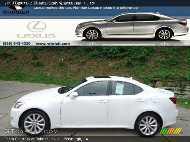 starfire white pearl 2009 lexus is 250 awd black interior vehicle archive. Black Bedroom Furniture Sets. Home Design Ideas