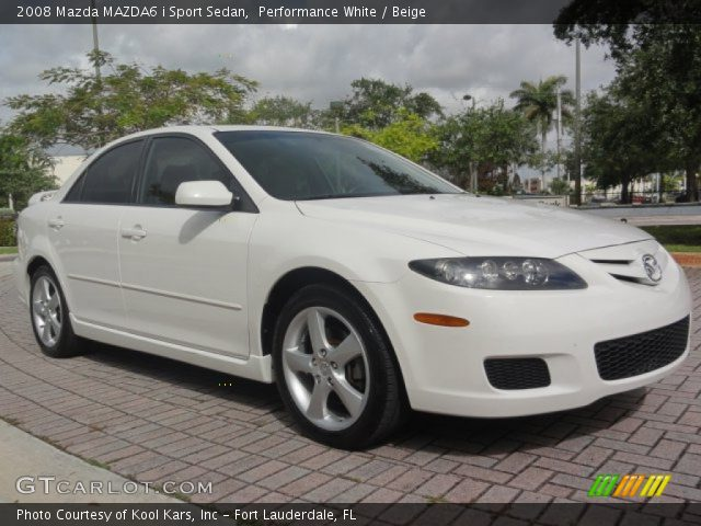 performance white 2008 mazda mazda6 i sport sedan beige interior vehicle. Black Bedroom Furniture Sets. Home Design Ideas