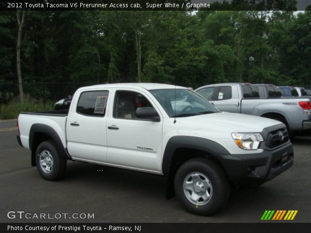 super white 2012 toyota tacoma v6 prerunner access cab graphite interior. Black Bedroom Furniture Sets. Home Design Ideas