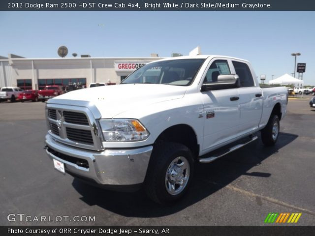 bright white 2012 dodge ram 2500 hd st crew cab 4x4 dark slate medium graystone interior. Black Bedroom Furniture Sets. Home Design Ideas
