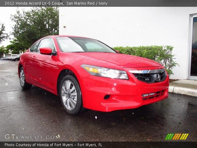 san marino red 2012 honda accord lx s coupe ivory interior vehicle archive. Black Bedroom Furniture Sets. Home Design Ideas