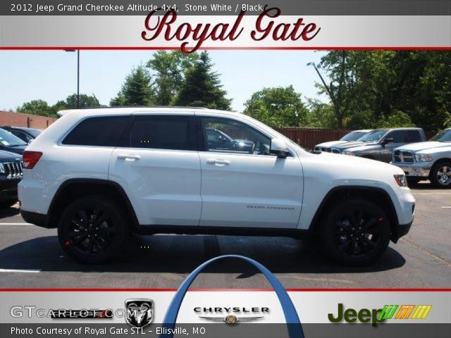 stone white 2012 jeep grand cherokee altitude 4x4 black interior vehicle. Black Bedroom Furniture Sets. Home Design Ideas