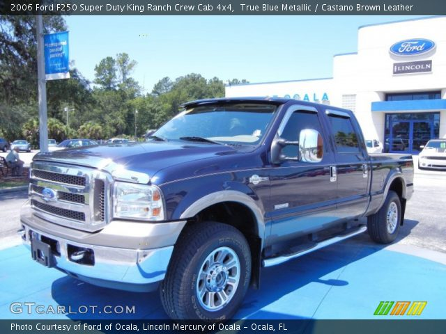 true blue metallic 2006 ford f250 super duty king ranch crew cab 4x4 castano brown leather. Black Bedroom Furniture Sets. Home Design Ideas