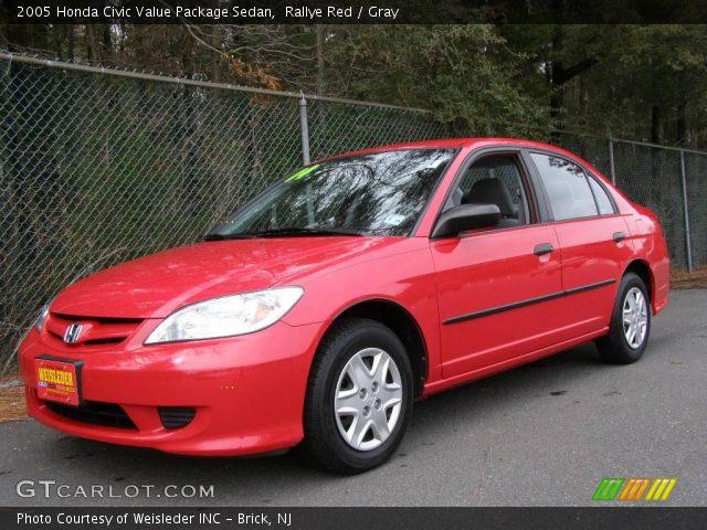 rallye red 2005 honda civic value package sedan gray interior vehicle. Black Bedroom Furniture Sets. Home Design Ideas