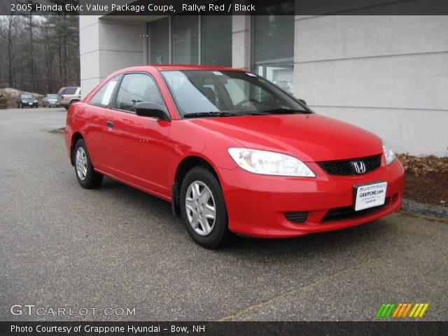 rallye red 2005 honda civic value package coupe black interior vehicle. Black Bedroom Furniture Sets. Home Design Ideas