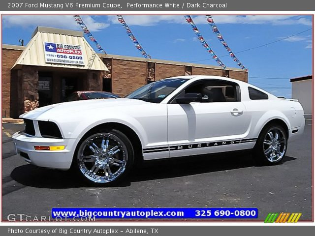 performance white 2007 ford mustang v6 premium coupe dark charcoal interior. Black Bedroom Furniture Sets. Home Design Ideas