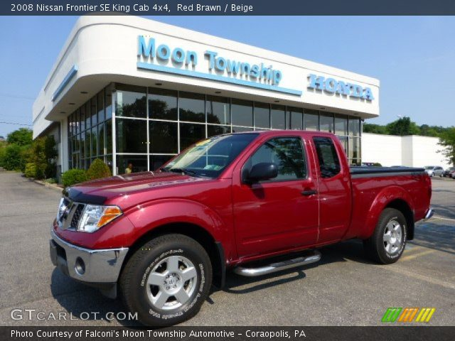 red brawn 2008 nissan frontier se king cab 4x4 beige interior vehicle. Black Bedroom Furniture Sets. Home Design Ideas