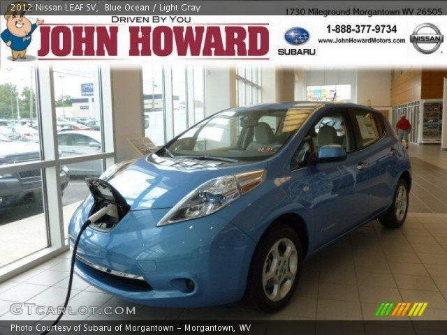 blue ocean 2012 nissan leaf sv light gray interior. Black Bedroom Furniture Sets. Home Design Ideas