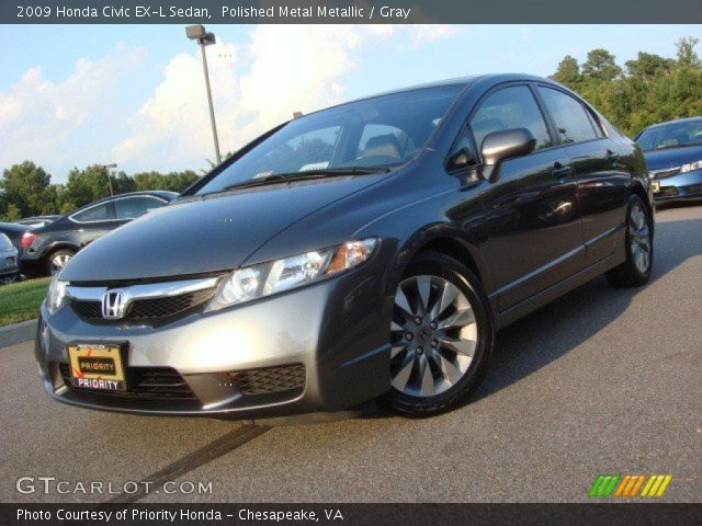 polished metal metallic 2009 honda civic ex l sedan gray interior vehicle. Black Bedroom Furniture Sets. Home Design Ideas
