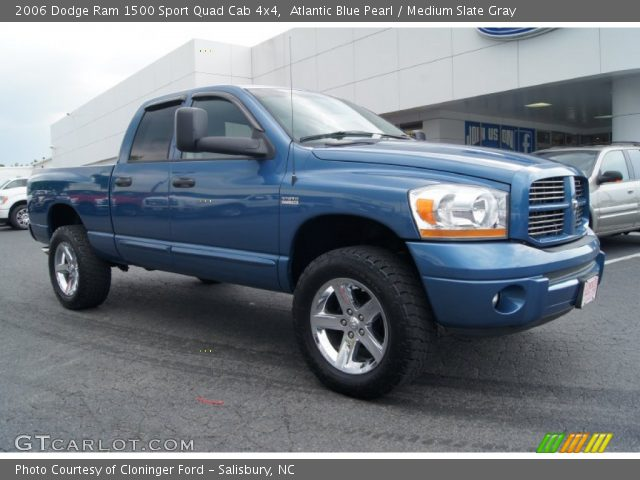 atlantic blue pearl 2006 dodge ram 1500 sport quad cab 4x4 medium slate gray interior. Black Bedroom Furniture Sets. Home Design Ideas