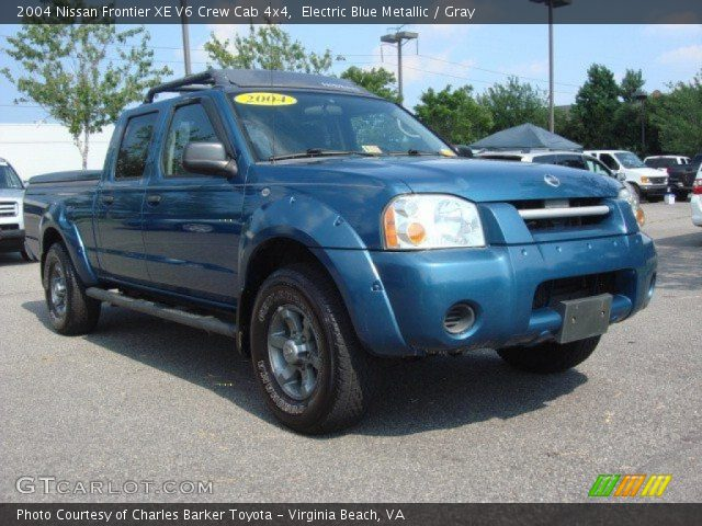 electric blue metallic 2004 nissan frontier xe v6 crew cab 4x4 gray interior. Black Bedroom Furniture Sets. Home Design Ideas