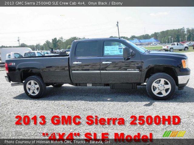 onyx black 2013 gmc sierra 2500hd sle crew cab 4x4 ebony interior vehicle. Black Bedroom Furniture Sets. Home Design Ideas