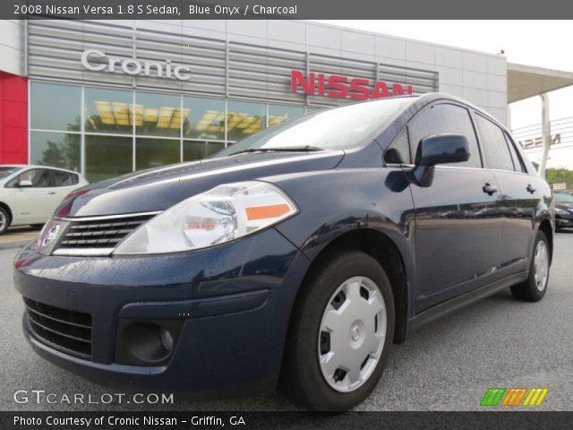 blue onyx 2008 nissan versa 1 8 s sedan charcoal interior vehicle archive. Black Bedroom Furniture Sets. Home Design Ideas