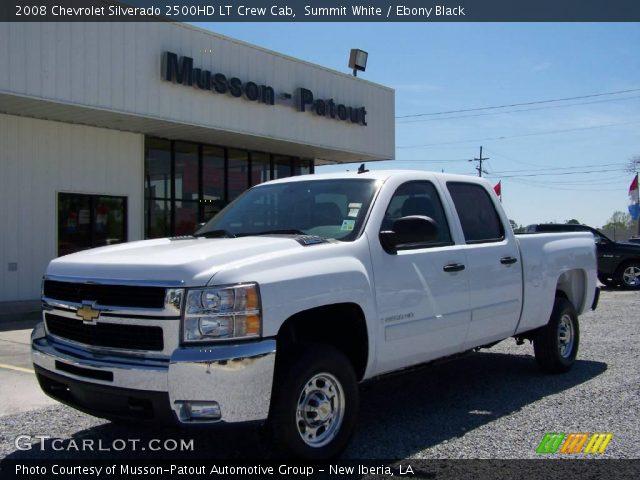 summit white 2008 chevrolet silverado 2500hd lt crew cab ebony black interior. Black Bedroom Furniture Sets. Home Design Ideas
