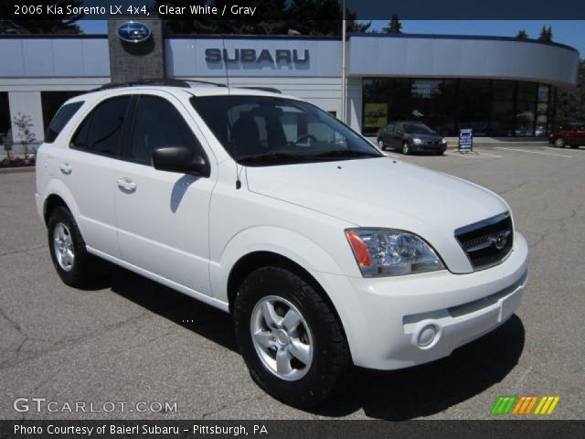clear white 2006 kia sorento lx 4x4 gray interior. Black Bedroom Furniture Sets. Home Design Ideas