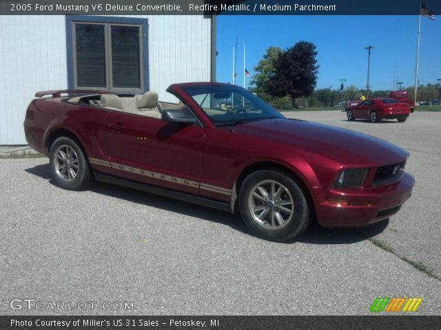 Redfire Metallic 2005 Ford Mustang V6 Deluxe Convertible Medium Parchment Interior