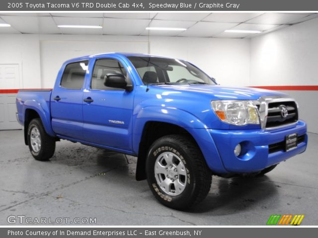 speedway blue 2005 toyota tacoma v6 trd double cab 4x4 graphite gray interior. Black Bedroom Furniture Sets. Home Design Ideas