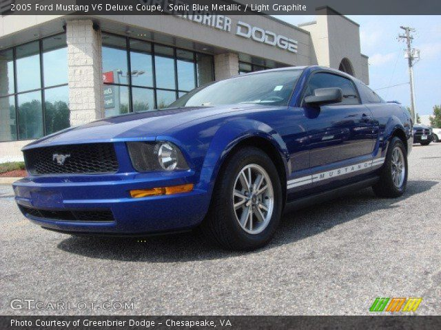 sonic blue metallic 2005 ford mustang v6 deluxe coupe. Black Bedroom Furniture Sets. Home Design Ideas