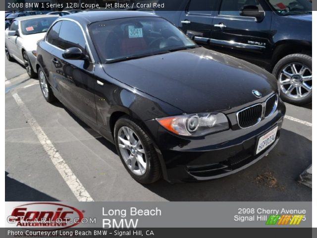 jet black 2008 bmw 1 series 128i coupe coral red interior vehicle archive. Black Bedroom Furniture Sets. Home Design Ideas