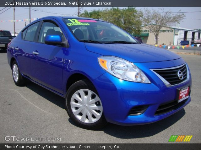 metallic blue 2012 nissan versa 1 6 sv sedan charcoal interior vehicle. Black Bedroom Furniture Sets. Home Design Ideas