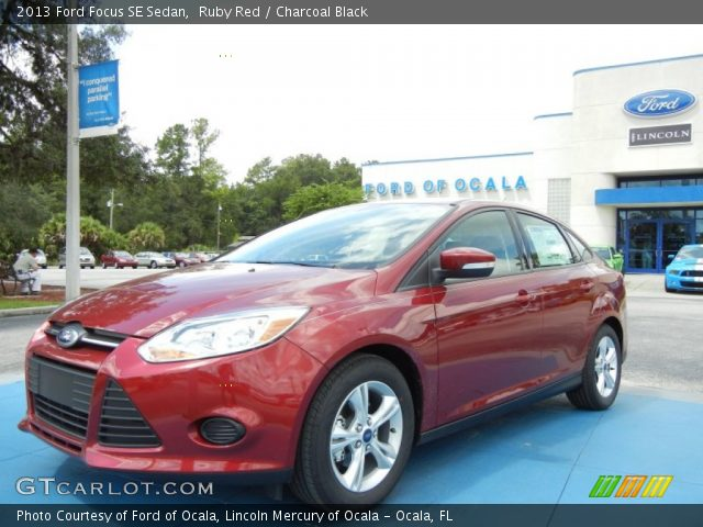Ruby Red - 2013 Ford Focus SE Sedan - Charcoal Black ...