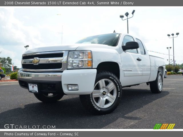 summit white 2008 chevrolet silverado 1500 lt extended cab 4x4 ebony interior. Black Bedroom Furniture Sets. Home Design Ideas