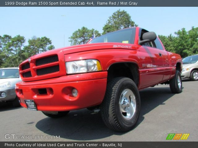 flame red 1999 dodge ram 1500 sport extended cab 4x4 mist gray interior. Black Bedroom Furniture Sets. Home Design Ideas