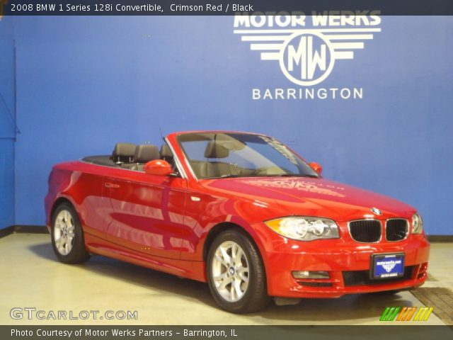 crimson red 2008 bmw 1 series 128i convertible black interior vehicle. Black Bedroom Furniture Sets. Home Design Ideas