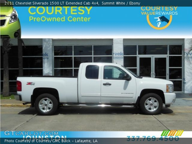 summit white 2011 chevrolet silverado 1500 lt extended cab 4x4 ebony interior. Black Bedroom Furniture Sets. Home Design Ideas