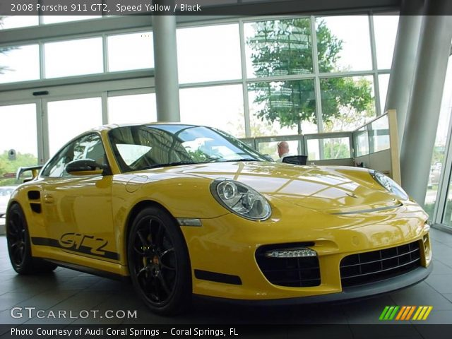 speed yellow 2008 porsche 911 gt2 black interior vehicle archive 6954658. Black Bedroom Furniture Sets. Home Design Ideas