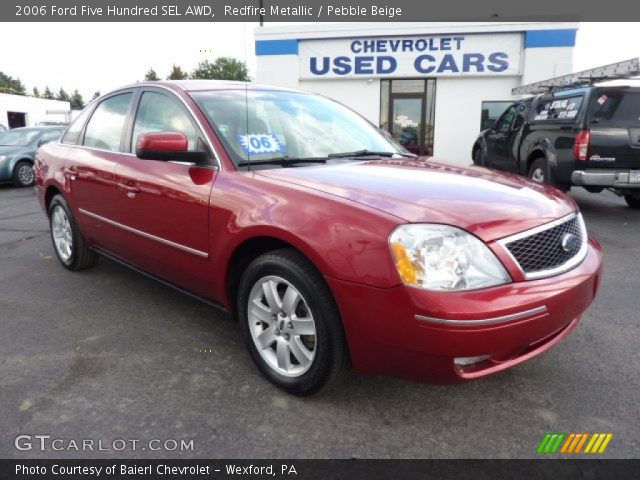 redfire metallic 2006 ford five hundred sel awd pebble beige interior. Black Bedroom Furniture Sets. Home Design Ideas