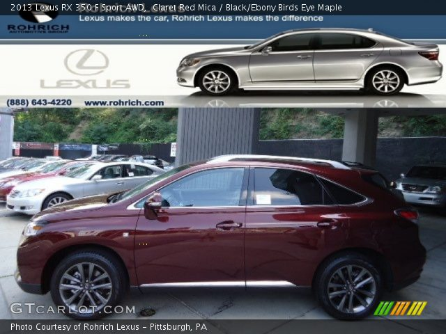 Claret Red Mica 2013 Lexus Rx 350 F Sport Awd Black Ebony Birds Eye Maple Interior
